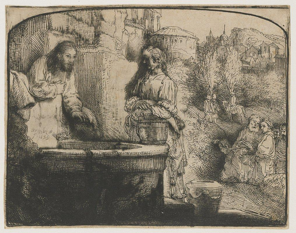 Christ and the woman of Samaria an arched print - Rembrandt