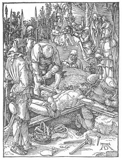 Christ Being Nailed to the Cross - Albrecht Durer