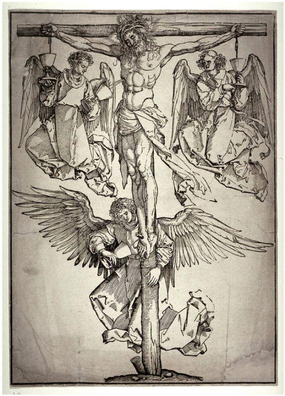 Christ on the Cross with Three Angels - Albrecht Durer