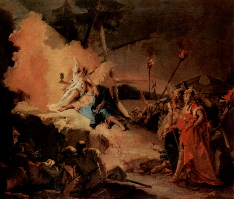 Christ on the Mount of Olives and the angel with the cup of suffering - Giovanni Battista Tiepolo