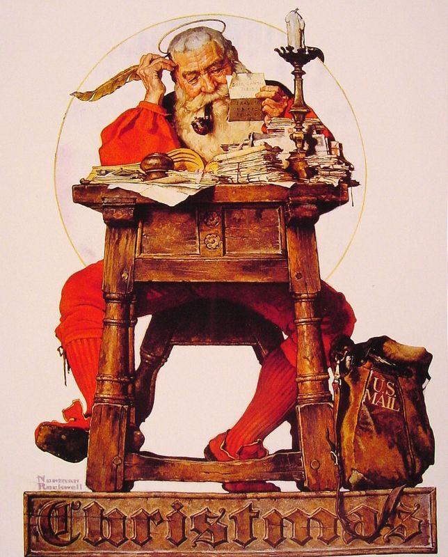 Christmas Santa Reading Mail - Norman Rockwell