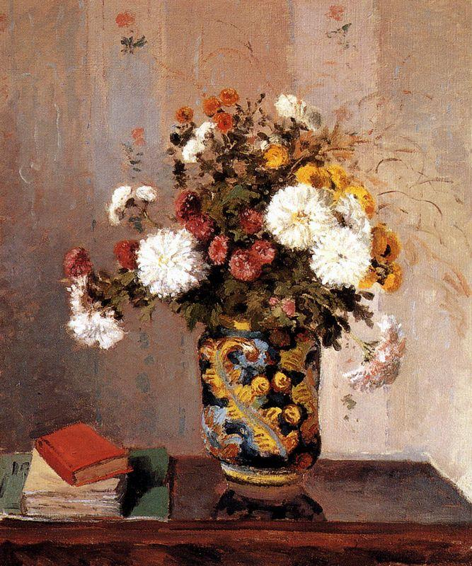 Chrysanthemums In a Chinese Vase - Camille Pissarro