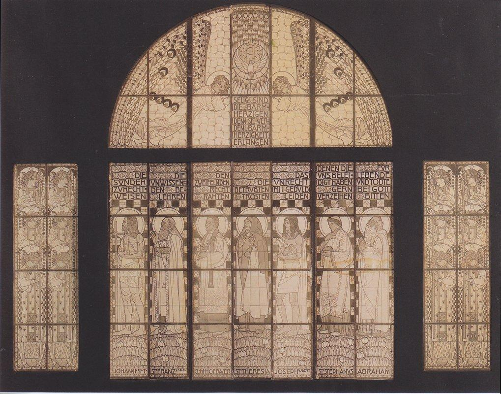 Church Am Steinhof, drawing of western window  - Koloman Moser