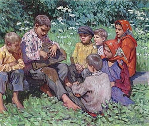 Cither Playing - Nikolay Bogdanov-Belsky