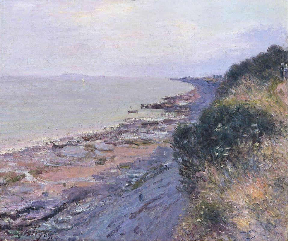 Cliffs at Penarth, Evening, Low Tide - Alfred Sisley