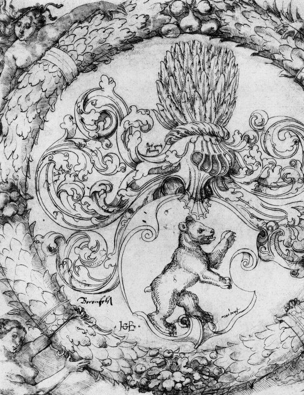 Coat of arms Basler Adelberg III of Bear Rock, Lord Arisdorf - Hans Baldung