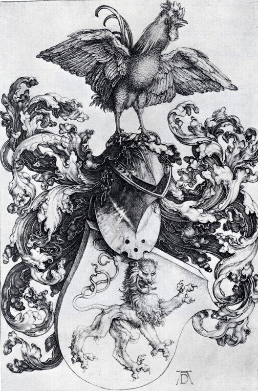 Coat Of Arms With Lion And Rooster - Albrecht Durer