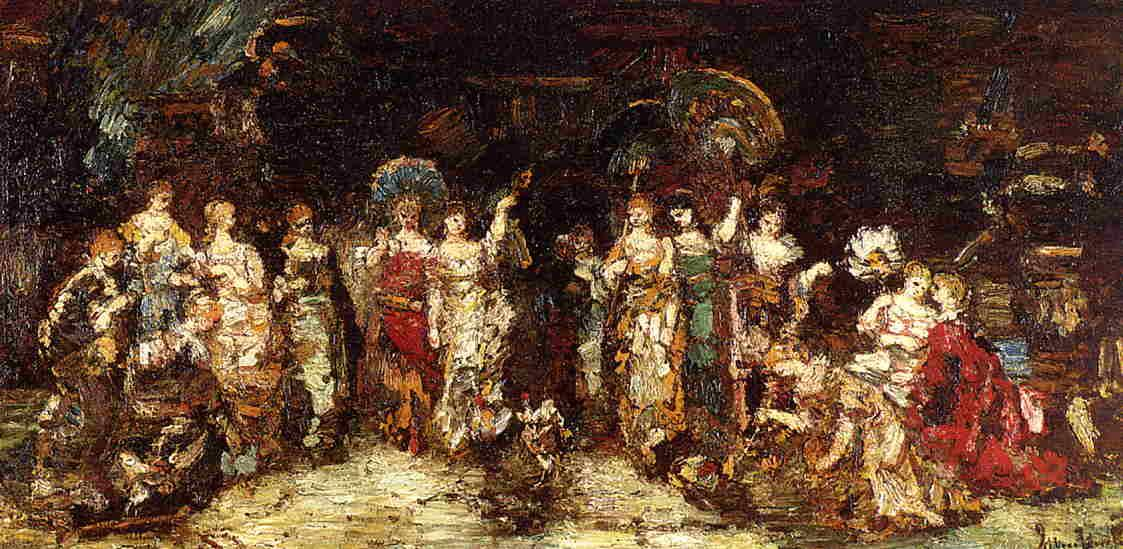 Cock Fight in Front of a Group of Young Women - Adolphe Joseph Thomas Monticelli