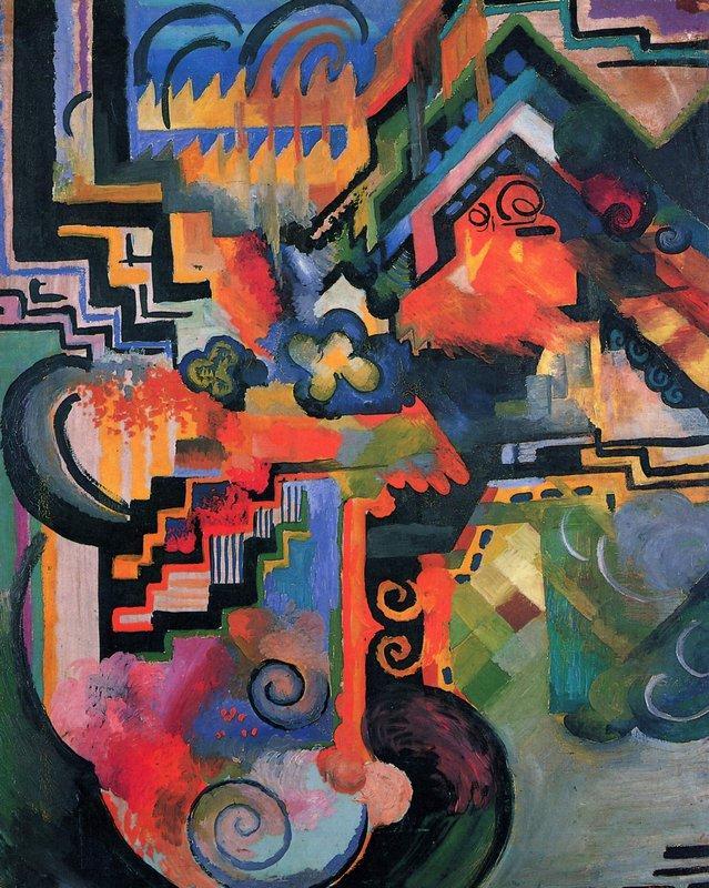 Colored composition (Hommage to Johann Sebastian Bachh) - August Macke