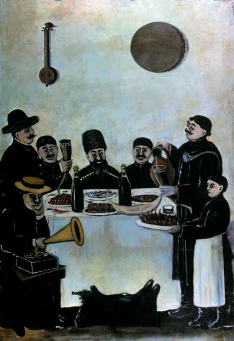 The feast of Tbilisian merchants accompanied by the gramophone - Niko Pirosmani