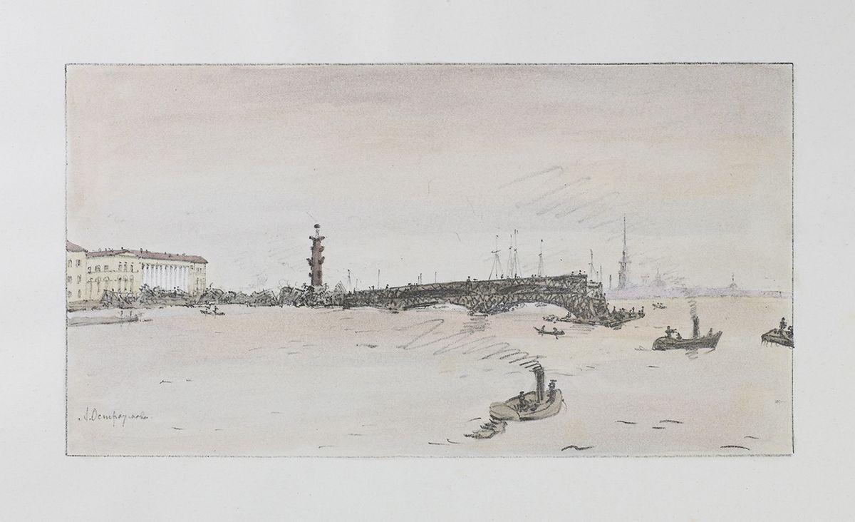 Construction of the Palace Bridge - Anna Ostroumova-Lebedeva
