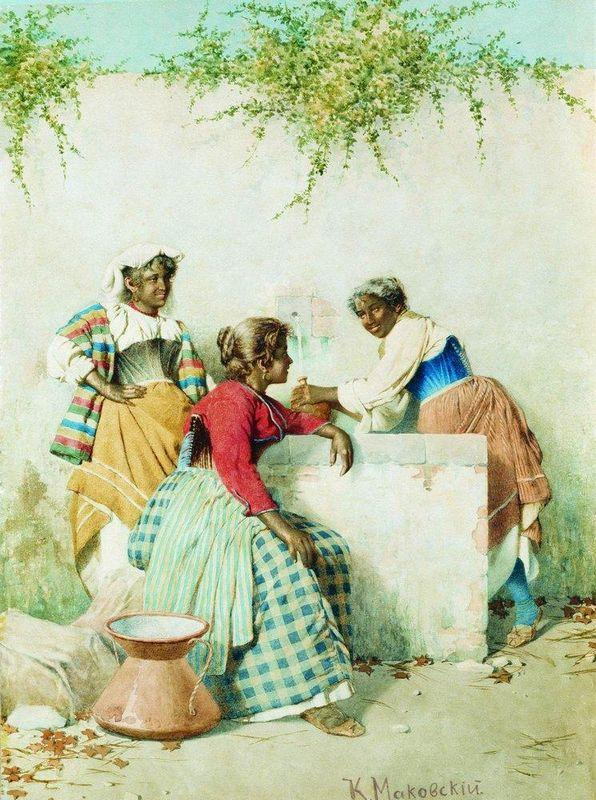 Conversation near the Spring - Konstantin Makovsky