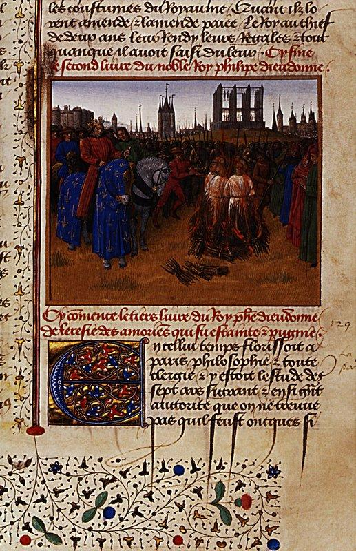 Conviction and punishment supporters of Amaury de Chartres - Jean Fouquet