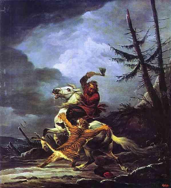 Cossack Fighting off a Tiger - Alexander Orlowski