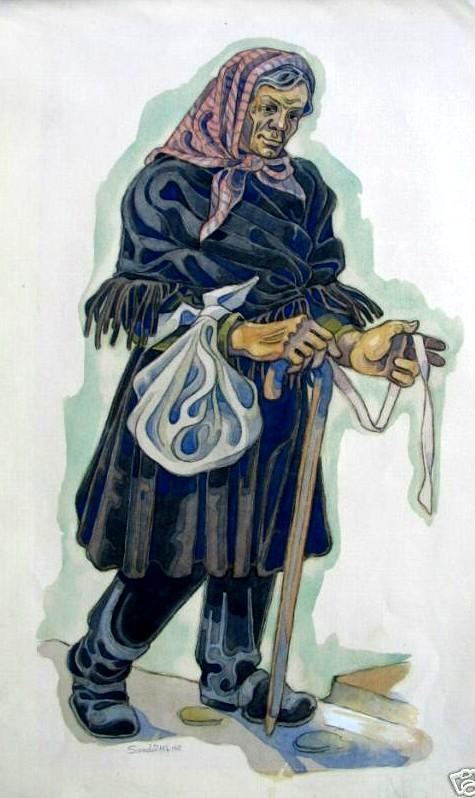 Costume design for an old villager (probably for Balieff theatre) - Serge Sudeikin