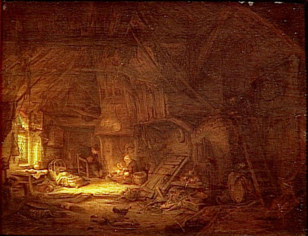 Cottage Interior with a Family around the Hearth - Adriaen van Ostade