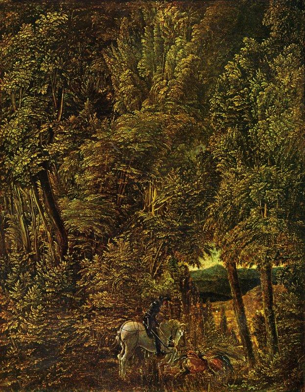 Countryside of wood with Saint George fighting the dragon - Albrecht Altdorfer