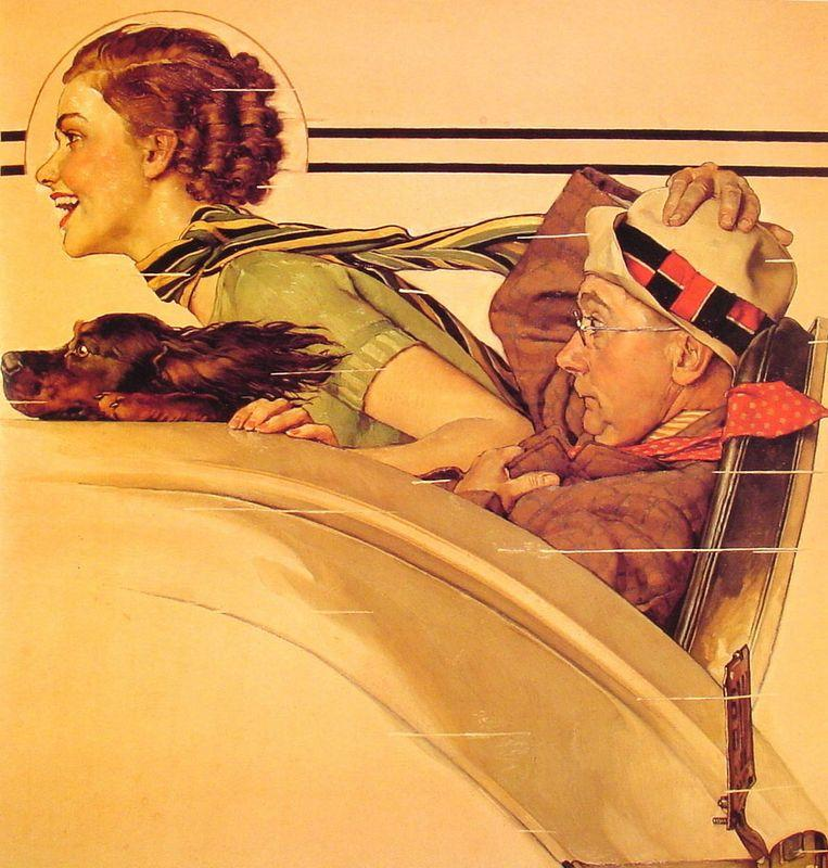 Couple in Rumble Seat - Norman Rockwell