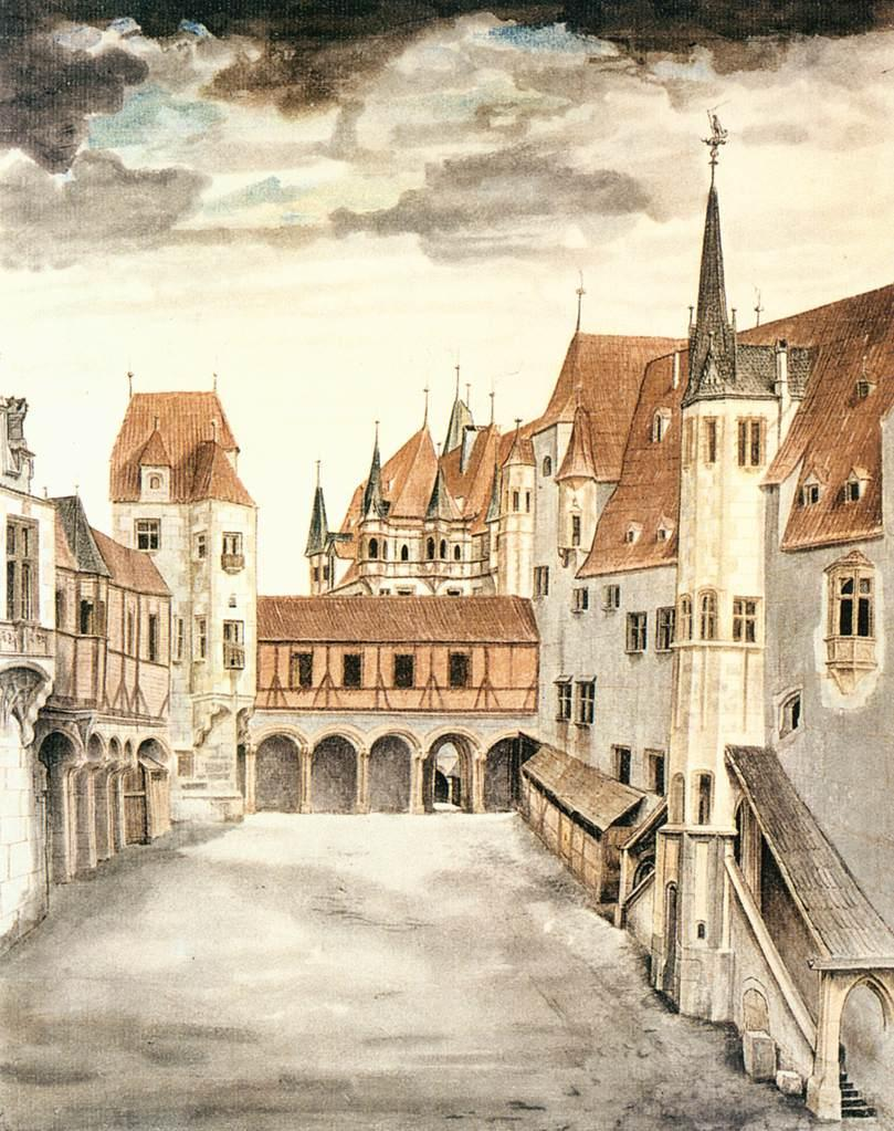 Courtyard of the Former Castle in Innsbruck with Clouds - Albrecht Durer