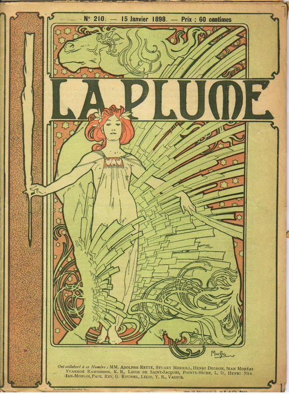 Cover composed by Mucha for the french literary and artistic Review La Plume - Alphonse Mucha