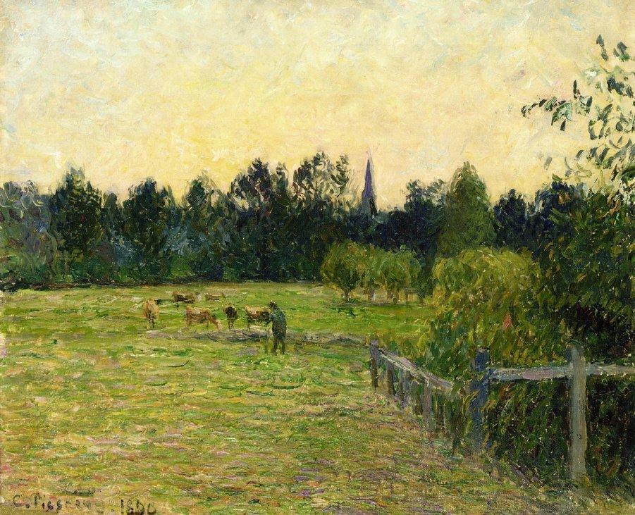 Cowherd in a Field at Eragny - Camille Pissarro