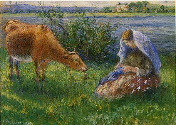 Cowherd, Pontoise - Camille Pissarro