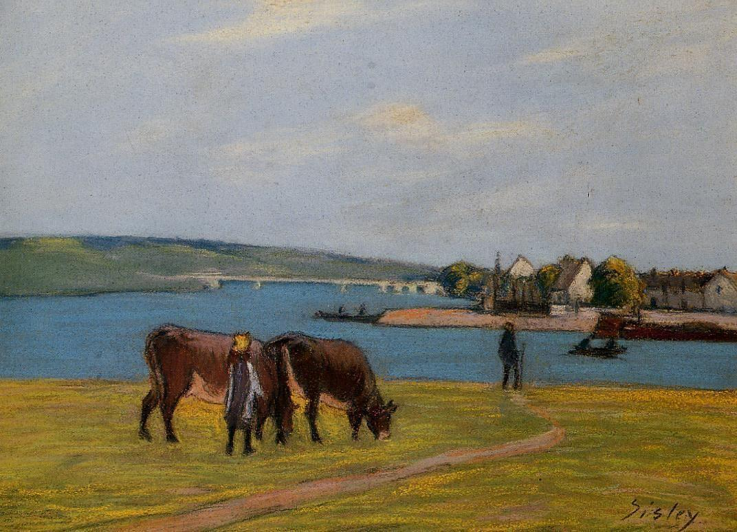 Cows by the Seine at Saint Mammes - Alfred Sisley