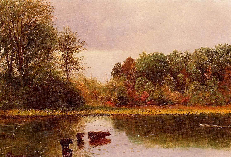 Cows Watering in a Landscape - Albert Bierstadt