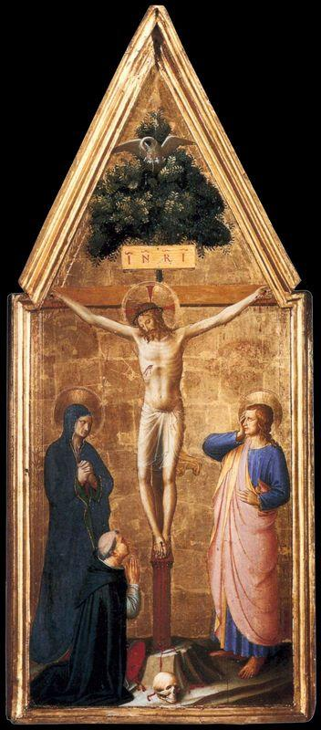 Crucified Christ with the Virgin, St. John the Evangelist and Cardinal Juan de Torquemada - Fra Angelico