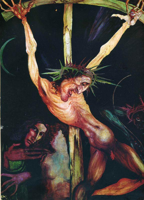 Crucifixion And Self-Portrait With Inge Beside The Cross - Ernst Fuchs