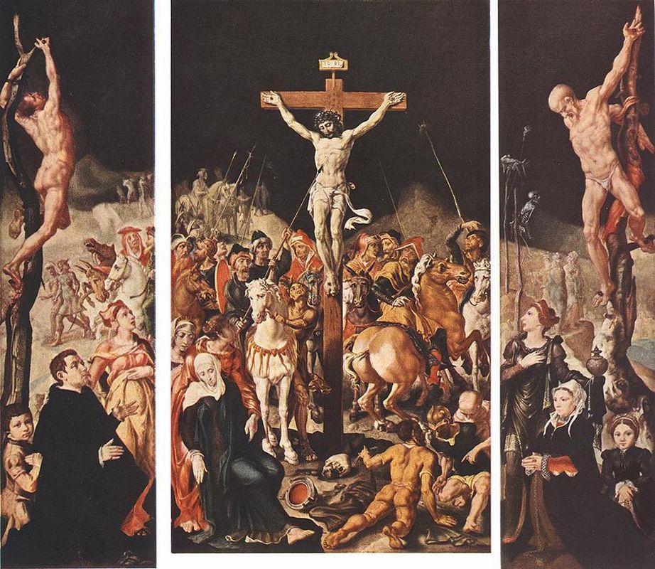 Crucifixion (Triptych) - Maerten van Heemskerck