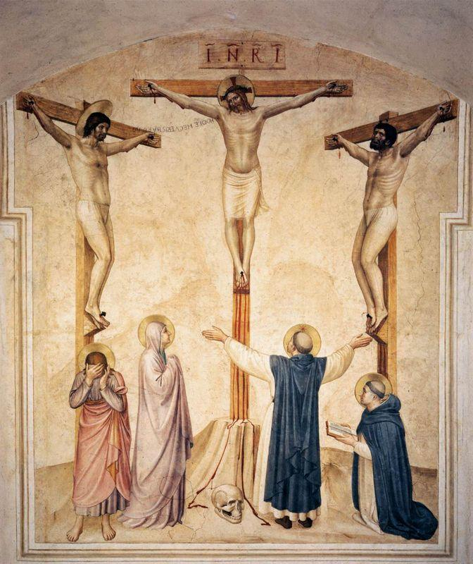 Crucifixion with Mourners and Sts. Dominic and Thomas Aquinas  - Fra Angelico