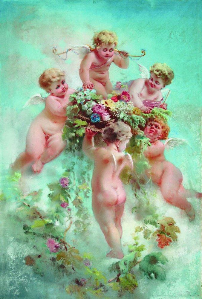 Cupids with Flowers - Konstantin Makovsky