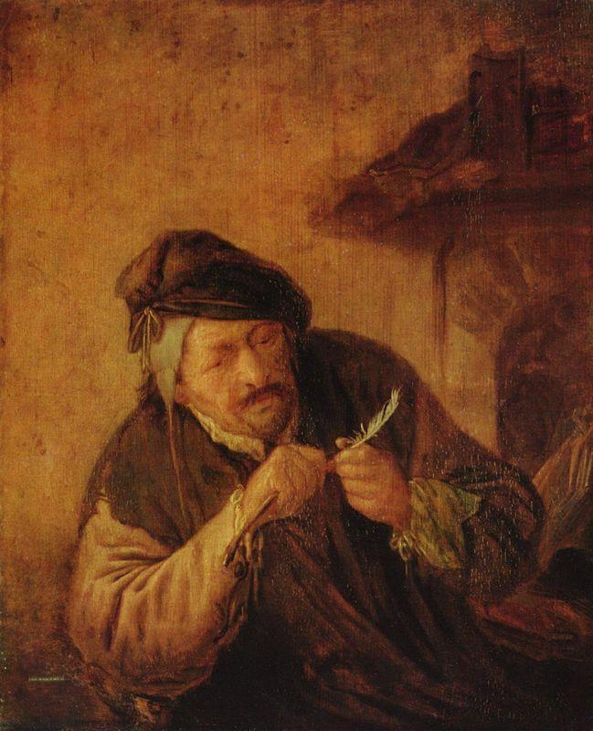 Cutting the Feather - Adriaen van Ostade