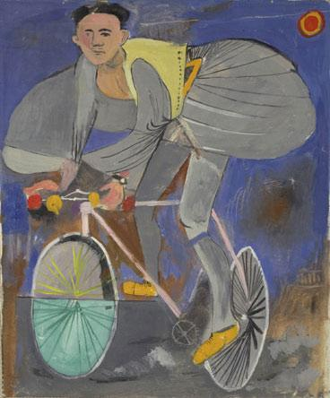 Cyclist dressed up (with traditional Greek costume) and a temple on the right corner - Yiannis Tsaroychis
