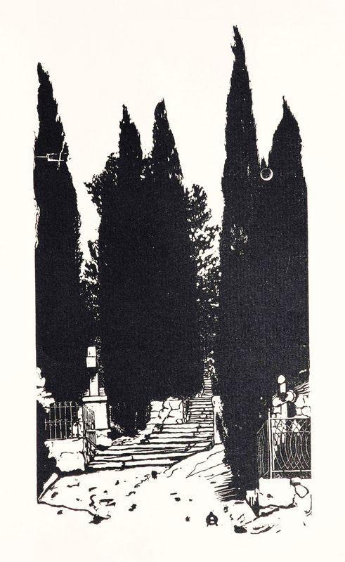 Cypress trees - Anna Ostroumova-Lebedeva