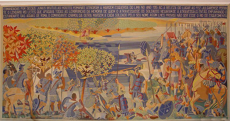 Decimus Iunius Brutus near river Lima, tapestry - Jose de Almada-Negreiros