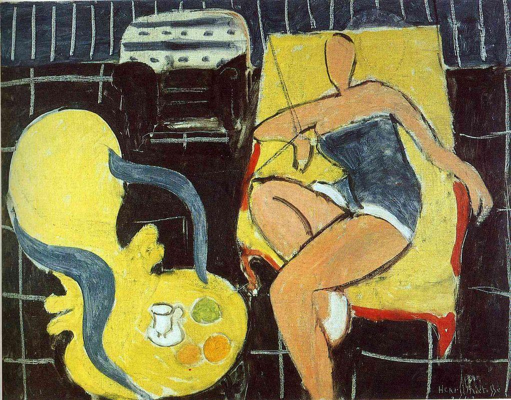 Dancer and Rocaille Armchair on a Black Background  - Henri Matisse