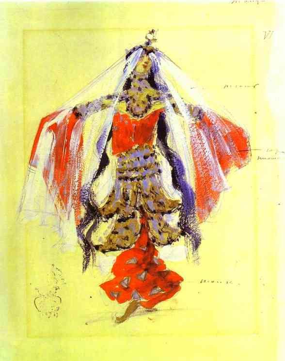 Dancer.Costume design for Rubinstein`s opera - Konstantin Korovin