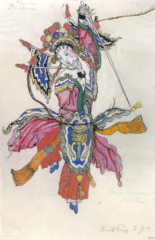 Dancer in the procession of the Chinese emperor. Costume design for Stravinsky's opera