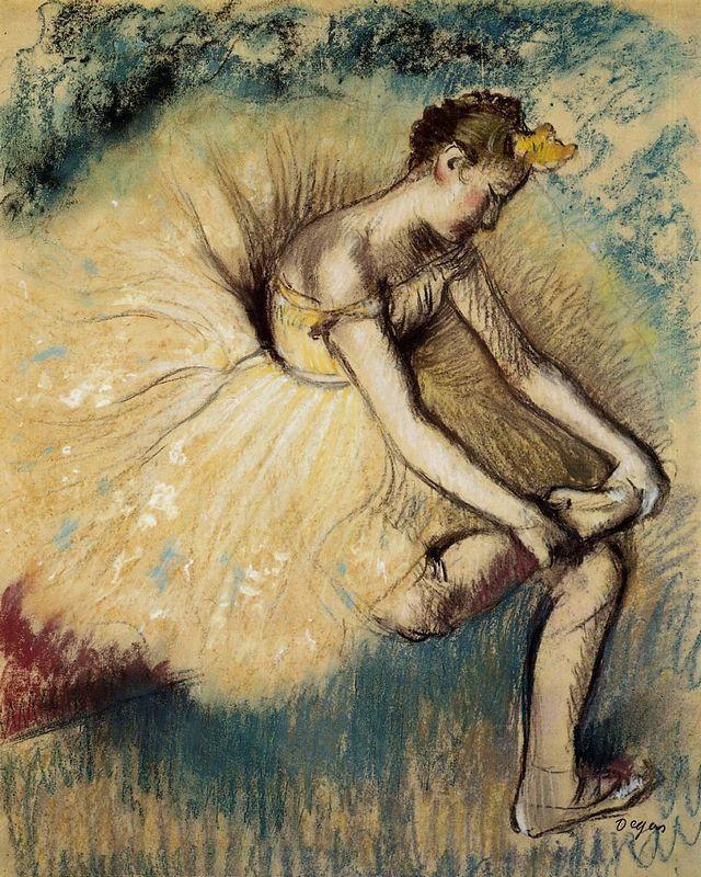 Dancer Putting on Her Slipper - Edgar Degas
