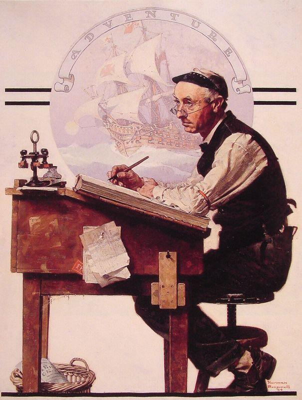 Daydreaming Bookeeper (Adventure) - Norman Rockwell
