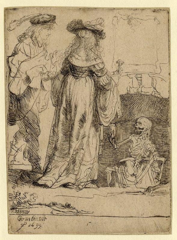 Death appearing to a wedded couple from an open grave - Rembrandt