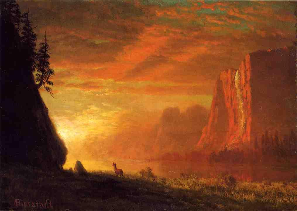 Deer at Sunset - Albert Bierstadt
