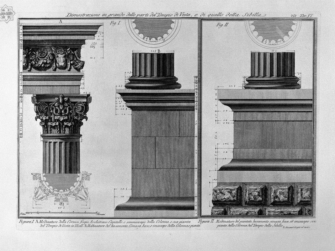 Demonstration in large parts of the Temple of Vesta and the Sibyl - Giovanni Battista Piranesi