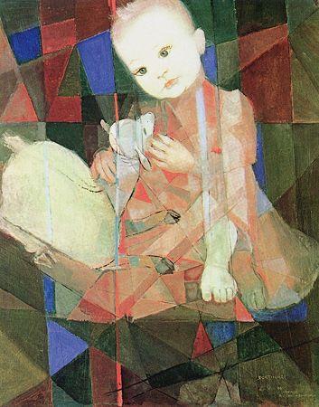 Denise com carneiro branco - Candido Portinari