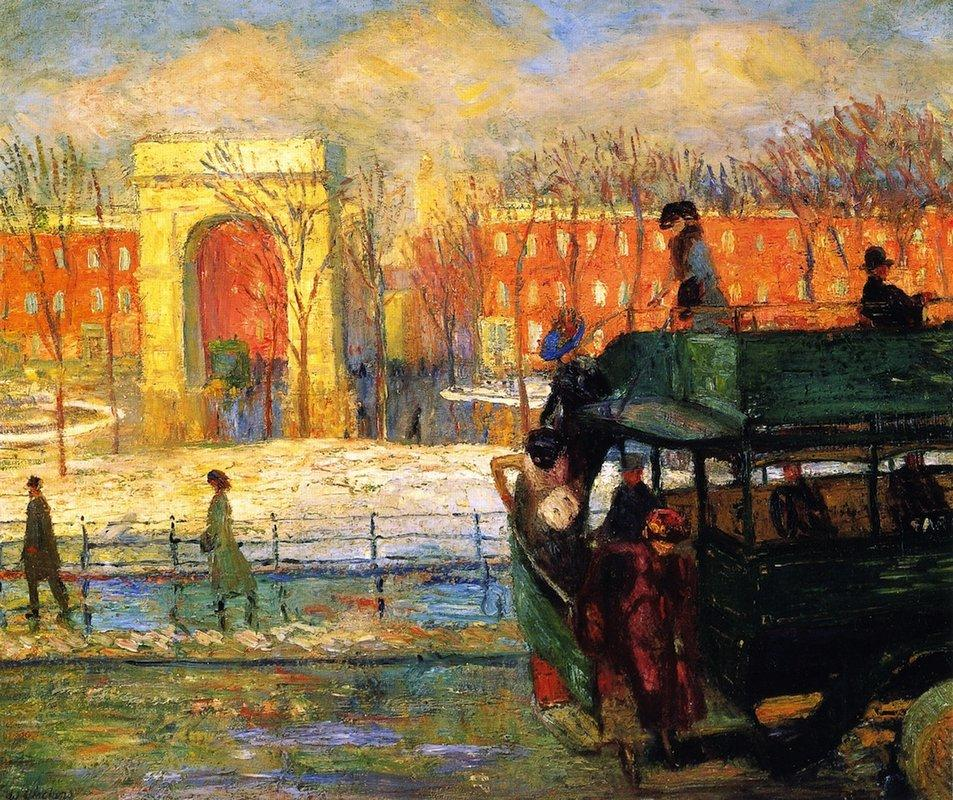 Descending from the Bus - William James Glackens