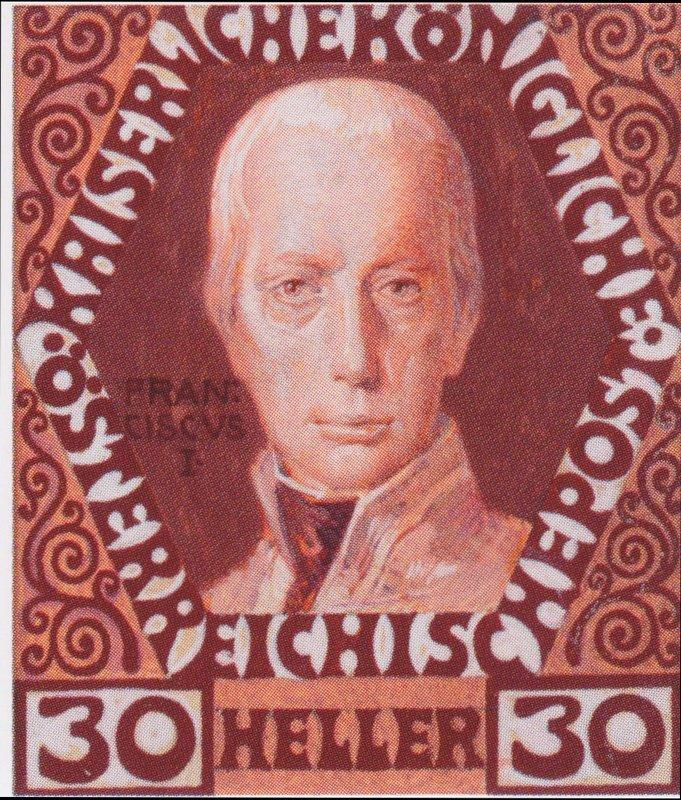 Design for the anniversary stamp with Austrian Emperor Francis I - Koloman Moser