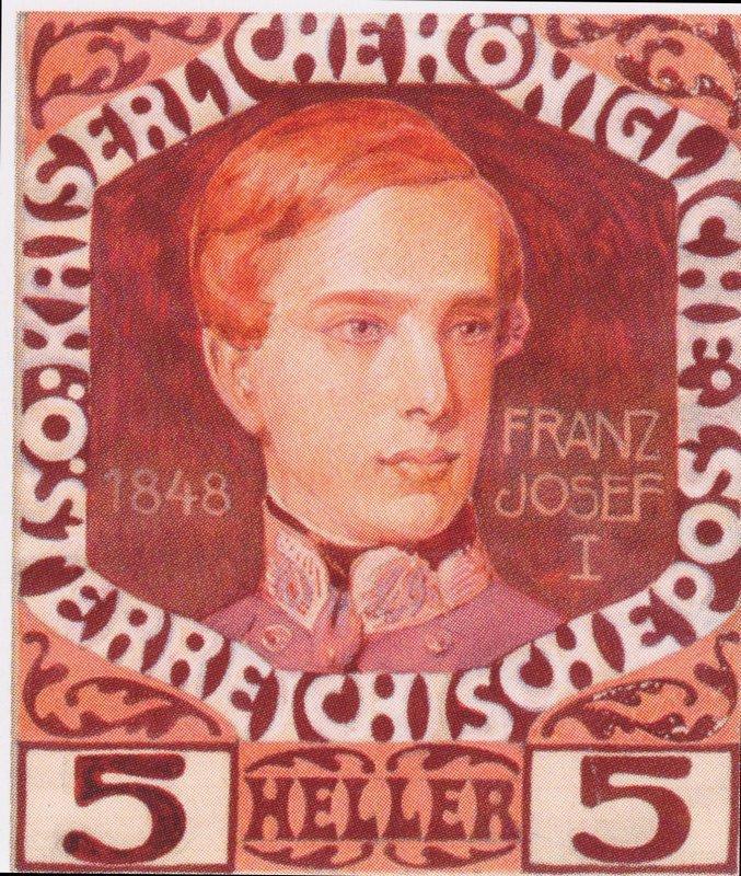 Design for the anniversary stamp with Austrian Emperor Franz Joseph  - Koloman Moser