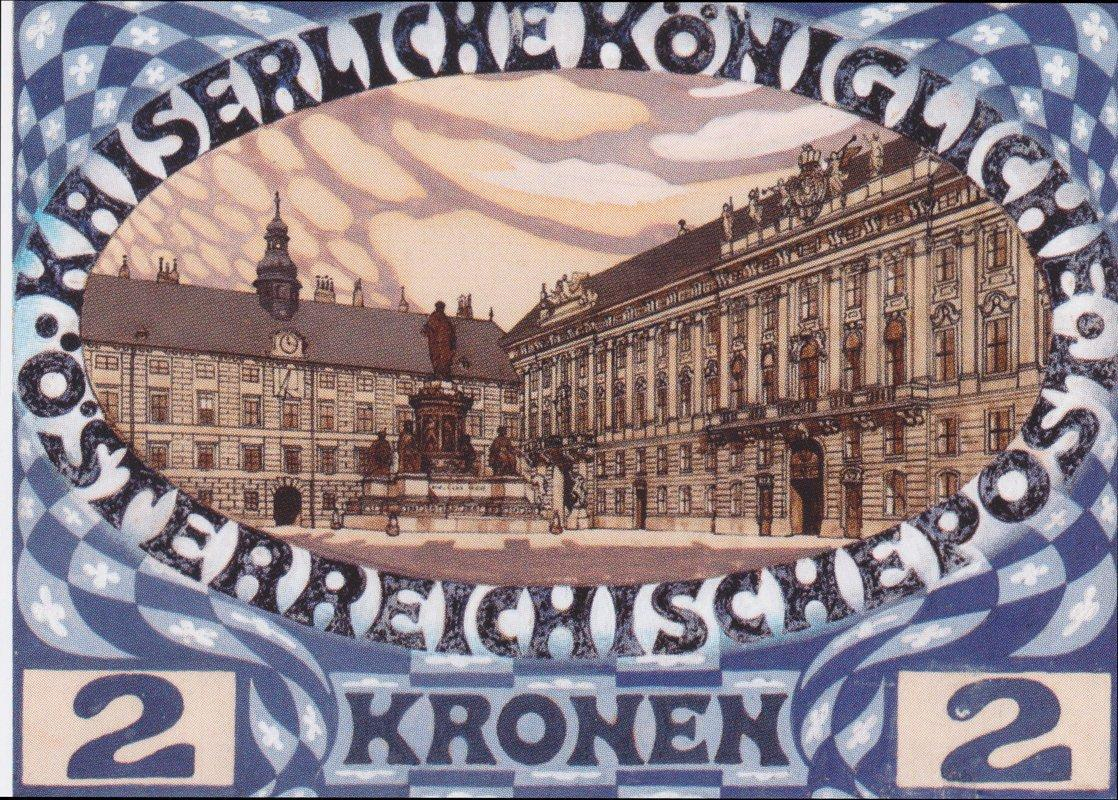 Design for the Austrian jubilee stamp with view of the Vienna Hofburg - Koloman Moser